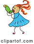 Vector Clipart of a Stick Figure Drawing of a Girl Using an Asthma Inhaler by Prawny