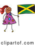 Vector Clipart of a Stick Figure Girl Holding a Jamaican Flag by Prawny