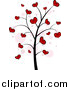 Vector Clipart of a Valentine Doodle Tree with Hearts by BNP Design Studio
