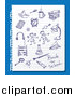 Vector Clipart of Blue Ink School Doodles on Ruled Paper over Blue by Eugene