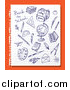Vector Clipart of Doodled Blue Ink Sketches on Ruled Paper over Orange by Eugene