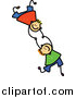 Vector Clipart of Doodled Boys Falling and Holding Hands by Prawny