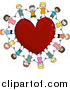 Vector Clipart of Doodled Happy Kids Holding Hands Around a Heart by BNP Design Studio