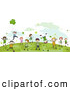 Vector Clipart of Doodled St Patricks Day Children Playing by BNP Design Studio