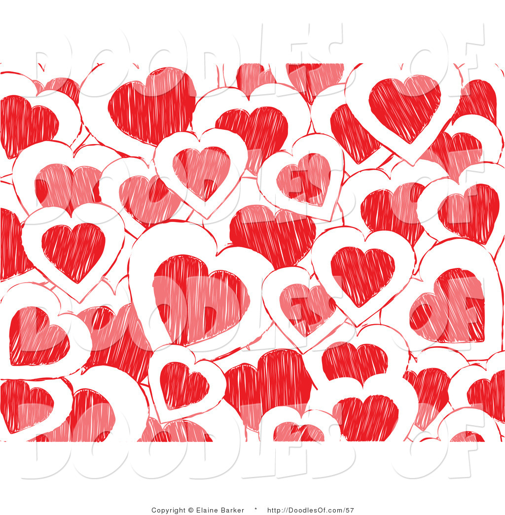 Vector clipart of a background of white and red doodled valentine vector clipart of a background of white and red doodled valentine hearts voltagebd Images