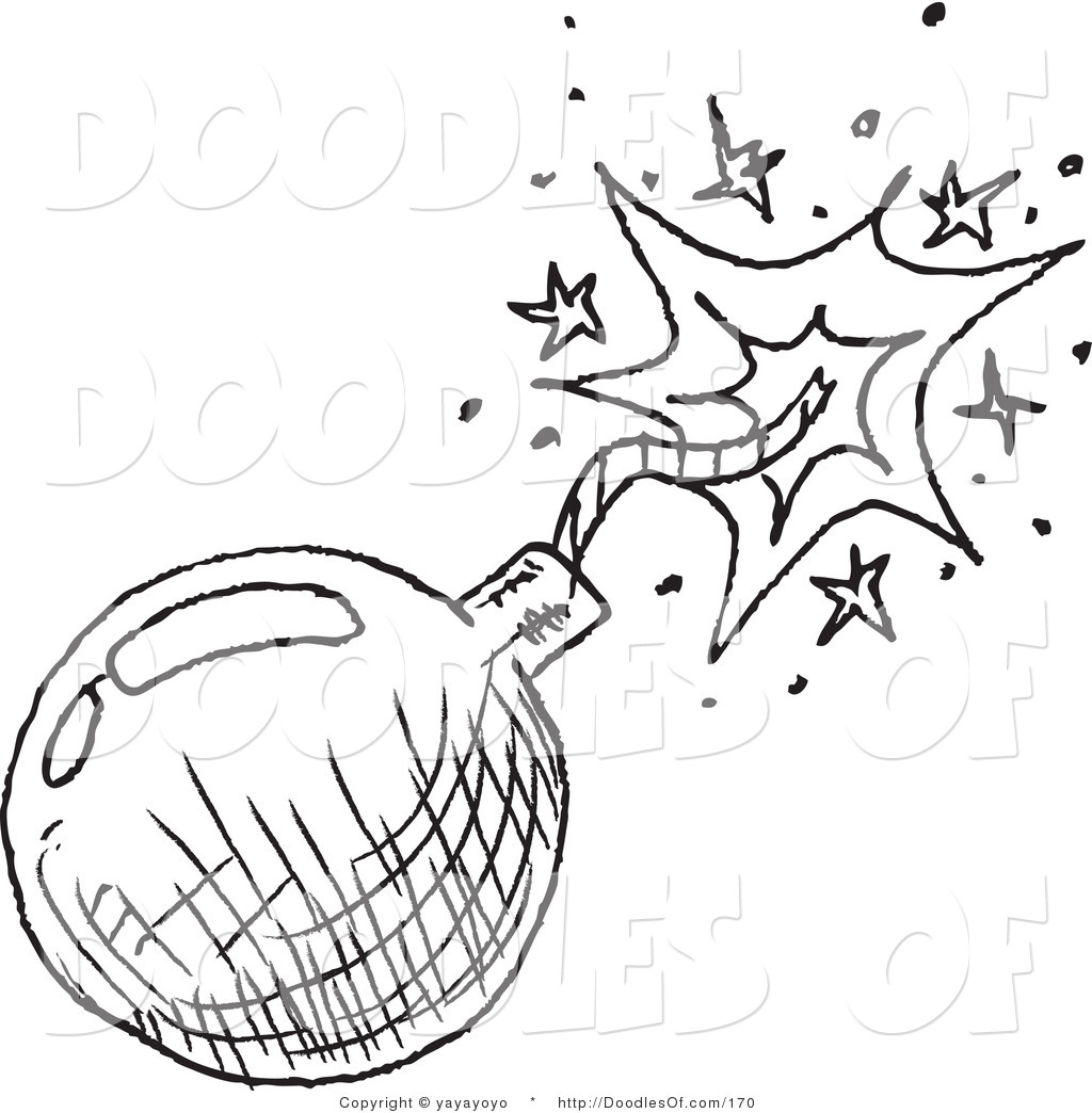 Vector clipart of a black and white bomb doodle sketch on for Sketch online free
