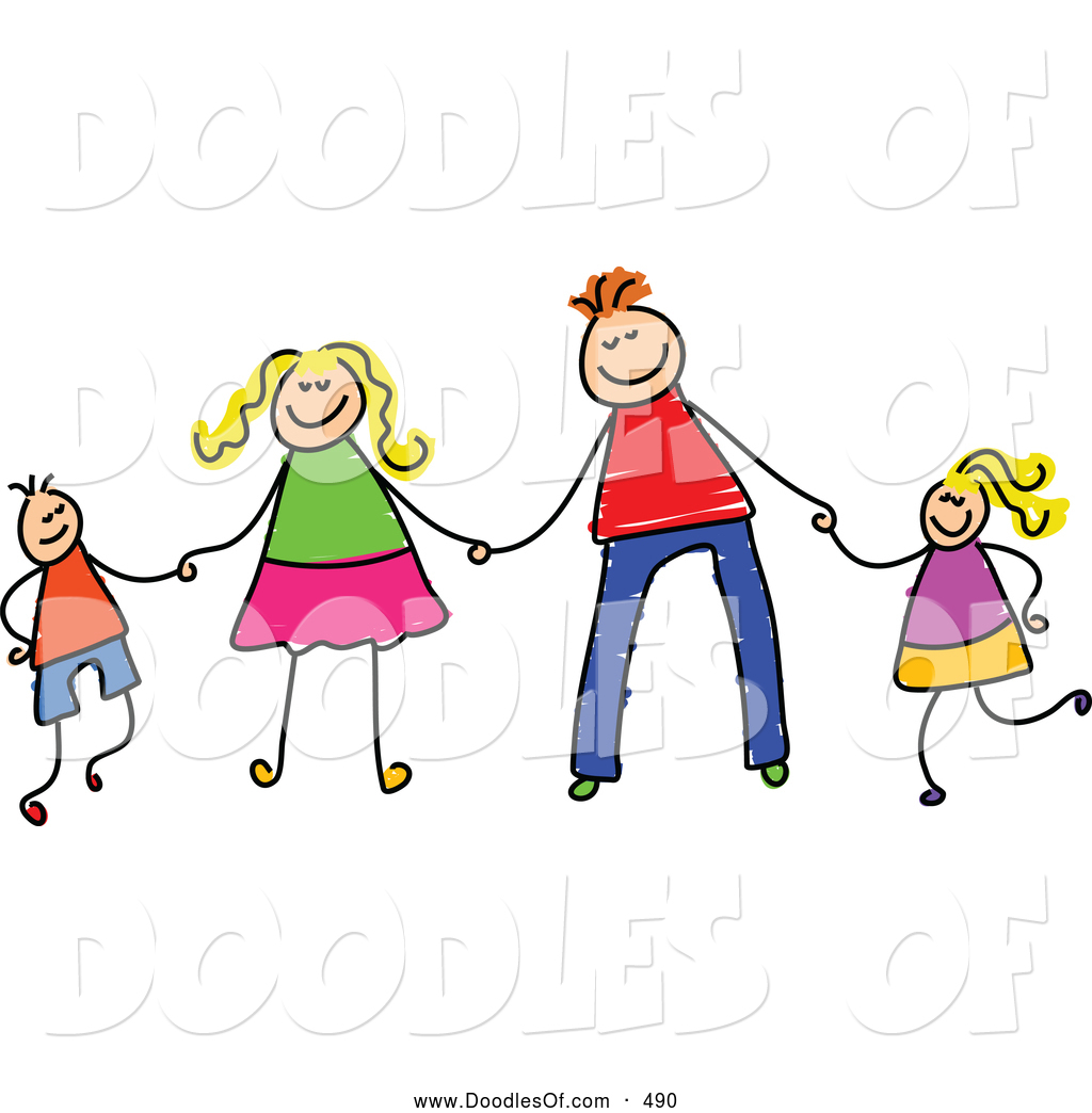 vector clipart of a child s sketch of a happy stick figure family rh doodlesof com
