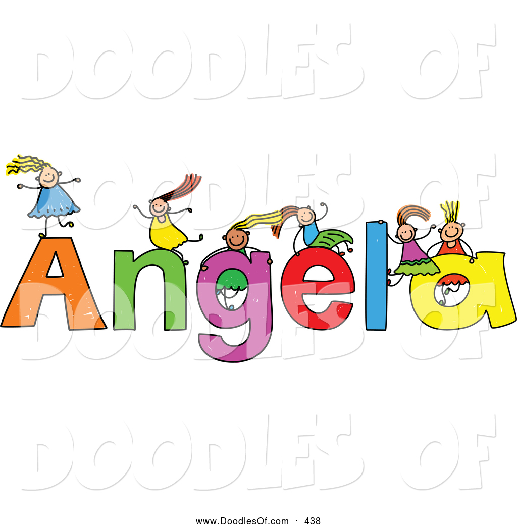 Vector Clipart Of A Childs Sketch Five Girls Playing On The Name Angela