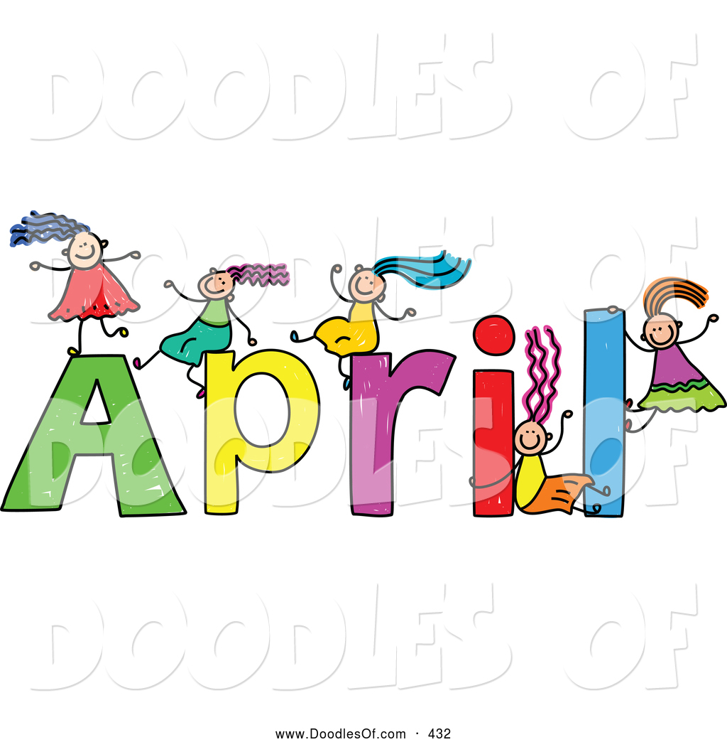 vector clipart of a childs sketch of kids girls playing on the name rh doodlesof com April Calendar Clip Art April Calendar Clip Art