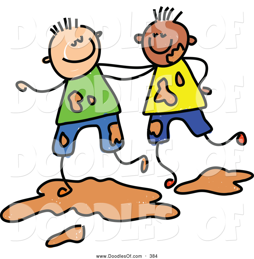 Vector Clipart of a Childs Sketch of Two Smiling Boys ... (1024 x 1044 Pixel)