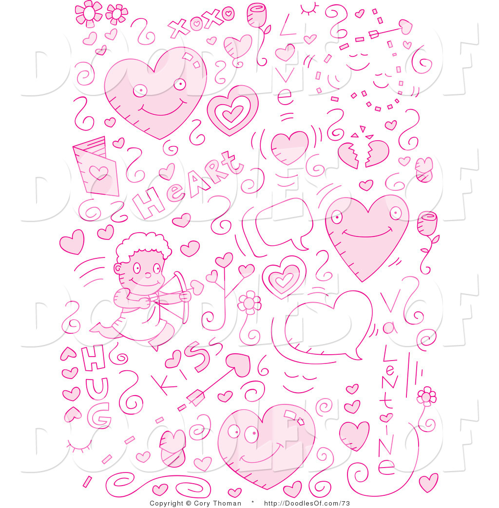 vector clipart of a collage of pink love doodle icons by all free download vector ai all free download vector design