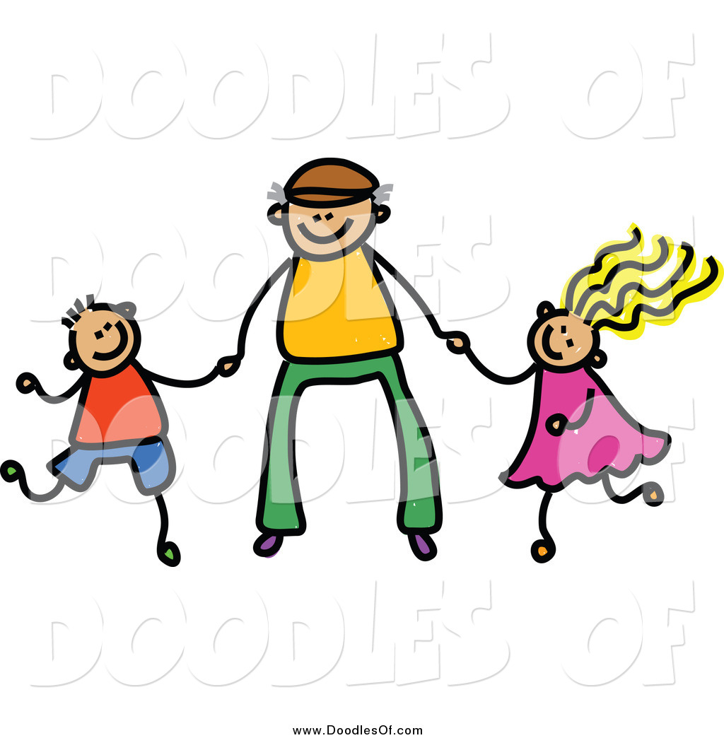 vector clipart of a doodle father holding hands with his son and rh doodlesof com parents and daughter clipart father and daughter clipart images