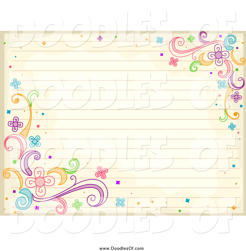 Vector Clipart Of A Doodled Antique Ruled Paper With Swirl And Flower Doodles By Bnp Design Studio 971