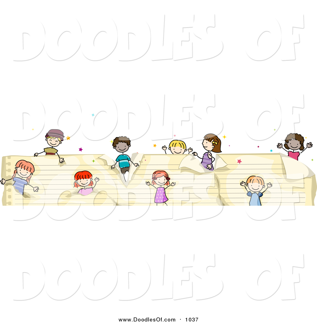 Vector Clipart Of A Doodled Border Of Kids On Ruled Paper By Bnp Design Studio 1037