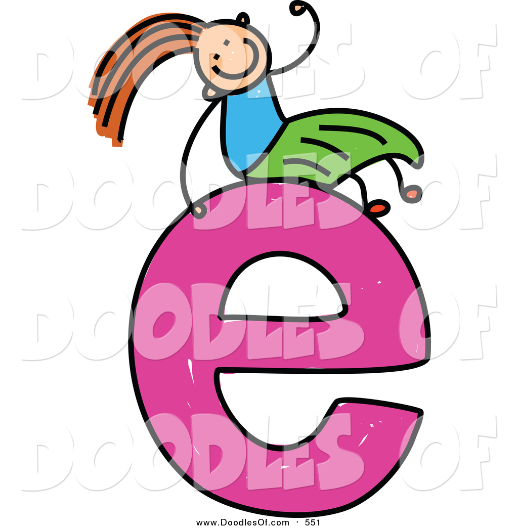Vector Clipart of a Doodled Girl on a Lowercase Letter E by Prawny ...