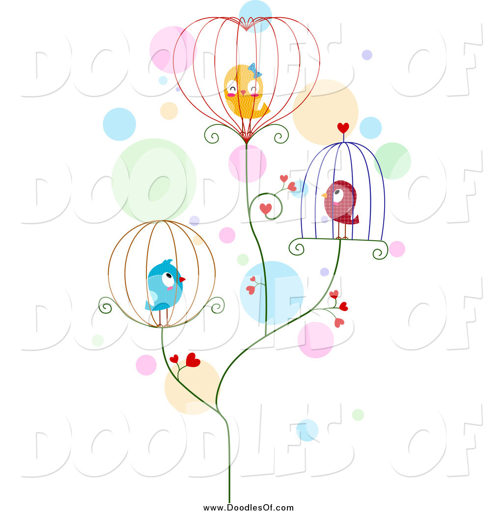 Vector Clipart Of A Doodled Love Birds In Wire Cages By Bnp Design Studio 1003