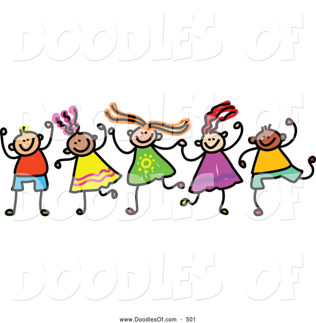 vector clipart of a friendly childs sketch of boys and girls holding rh doodlesof com