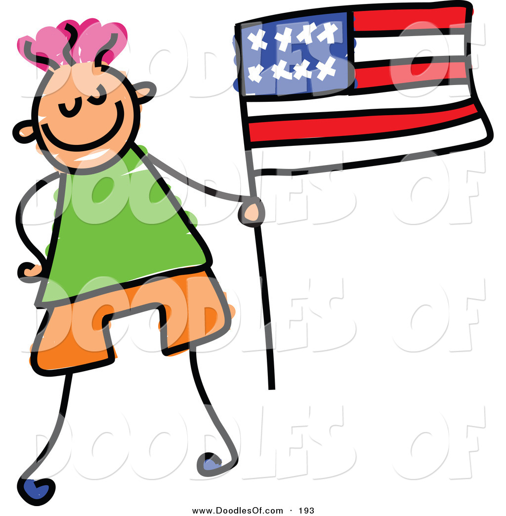 American flag kid. Vector clipart of a