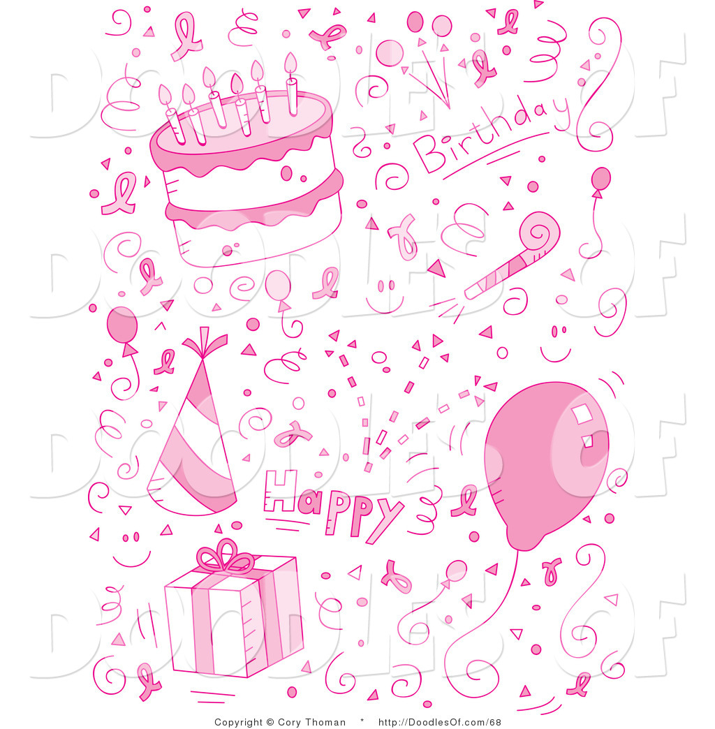 vector clipart of a pink birthday collage of doodles for a