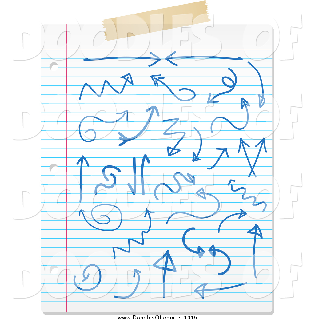 Vector Clipart Of A Sheet Of Ruled Paper With Blue Doodles And Tape By Kj Pargeter 1015