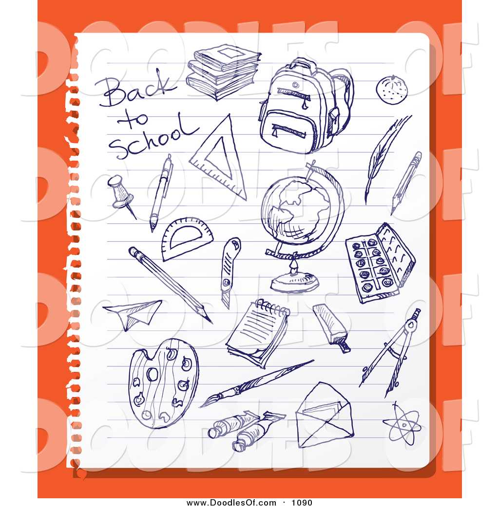 Vector Clipart Of Doodled Blue Ink Sketches On Ruled Paper Over Orange By Eugene 1090