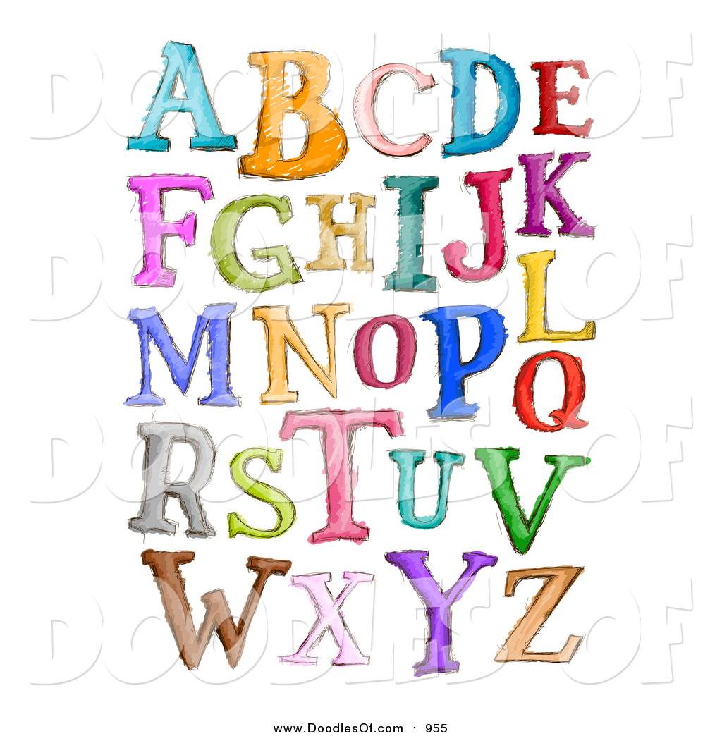 Doodled Capital Sketched Letters In Different Colors