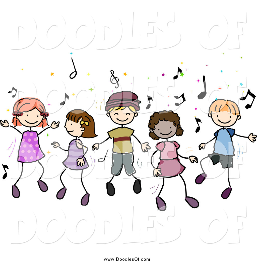 Vector Clipart Of Doodled Diverse Children Dancing To Music By Bnp Design Studio 1050