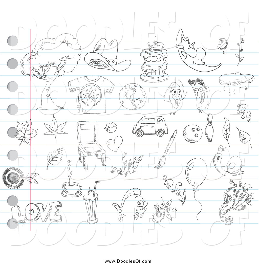 Vector Clipart Of Random Doodles On Ruled Paper By Yayayoyo 961