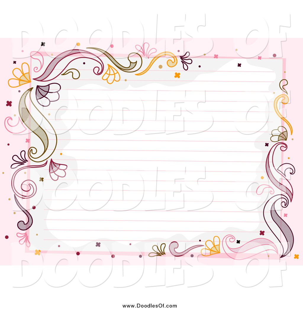 Vector Clipart Of Ruled Paper Framed With Flourishes And Pink By Bnp Design Studio 969