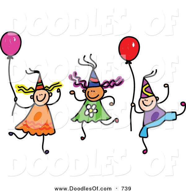 Vector Clipart Of A Doodle Of Children Wearing Party Hats