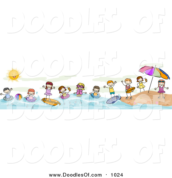 vector clipart of a doodled border of summer doodled kids at the rh doodlesof com Beach Fun Clip Art Wave Border Clip Art