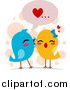 Vector Clipart of a Doodled Love Bird Pair Whispering Sweet Nothings by BNP Design Studio