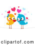 Vector Clipart of Romantic Love Birds with a Flower by BNP Design Studio